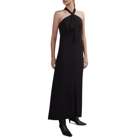 Jigsaw Black Pussy Bow Maxi Dress