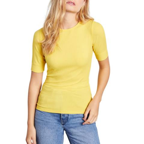 Jigsaw Yellow Bovey Ribbed Fitted T-Shirt
