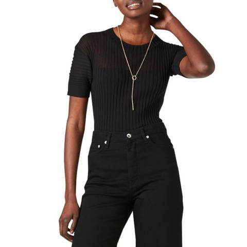 Jigsaw Black Plisse Ribbed T-Shirt