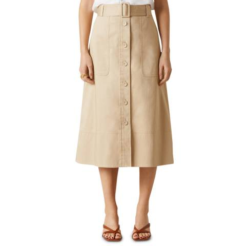 Jigsaw Beige Belted Trench Stretch Skirt