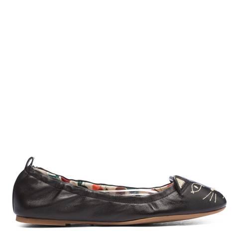 Charlotte Olympia Black Leather Kitty Ballet Flat