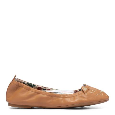 Charlotte Olympia Camel Leather Kitty Ballet Flat