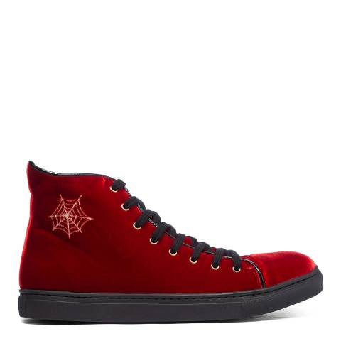 Charlotte Olympia Red Velvet High Top Trainers