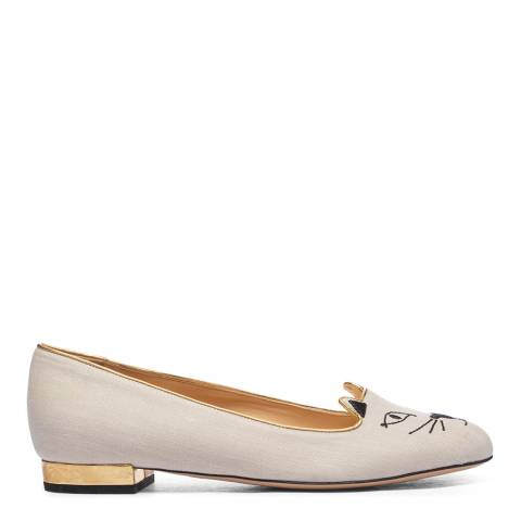 Charlotte Olympia Cream Suede Kitty Flat Pump