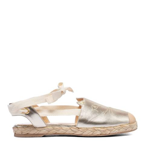 Charlotte Olympia Gold Leather Kitty Espadrilles