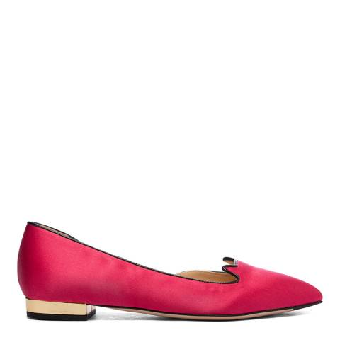 Charlotte Olympia Pink Satin D'Orsay Ballet Pump