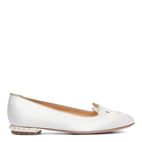 Charlotte Olympia White Satin Kitty Flat Pump