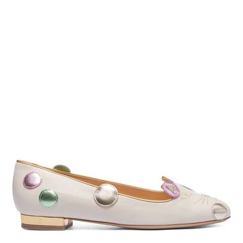 Charlotte Olympia Cream/Multi Leather Kitty Flat Pump