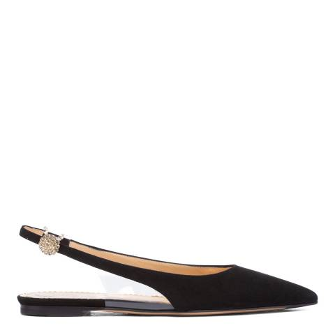 Charlotte Olympia Black Suede Flat Mules