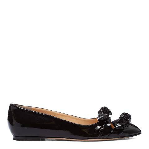 Charlotte Olympia Black Crinkle Patent Ballet Pump