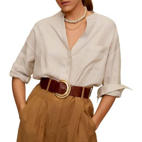 Mango Ice Grey Mao Collar Linen Shirt