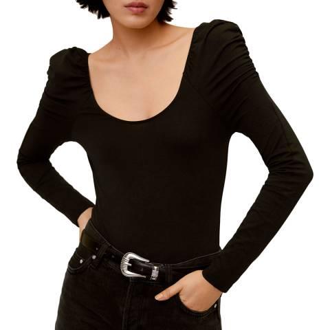 Mango Black Puffed Shoulder T-Shirt