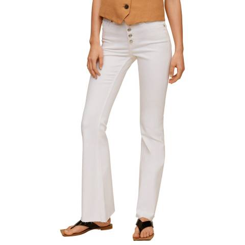 Mango White Buttons Flare Jeans