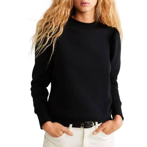Mango Black Puffed-Shoulder Sweatshirt