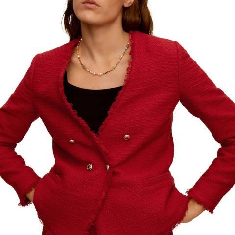 Mango Red Buttons Tweed Blazer