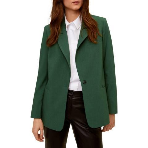 Mango Green Structured Blazer Button