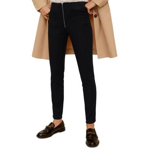 Mango Black Zip-Pocket Slim-Fit Trousers