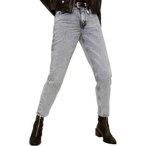 Mango Denim Grey Mom Fit Faded Grey Jeans