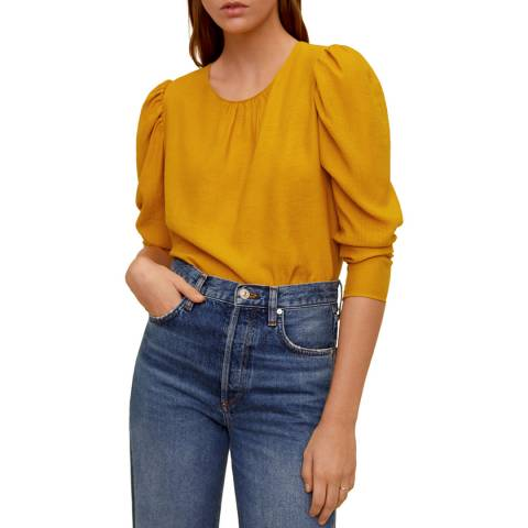 Mango Mustard Puffed Sleeves Blouse