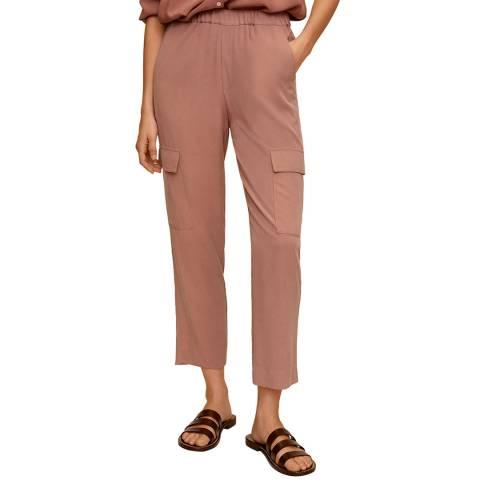 Mango Pale Pink Modal Cargo Trousers