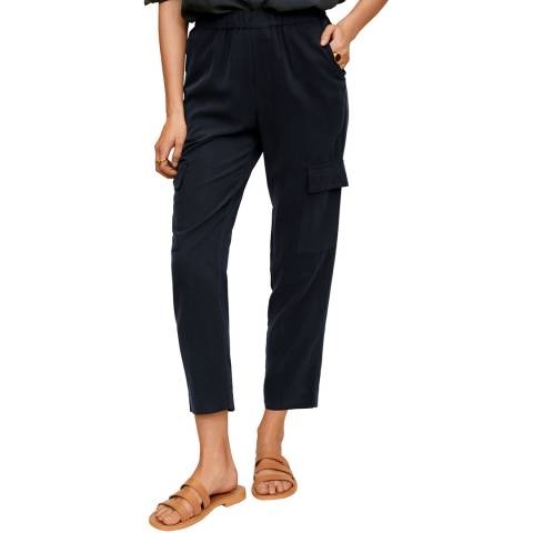 Mango Petrol Blue Modal Cargo Trousers