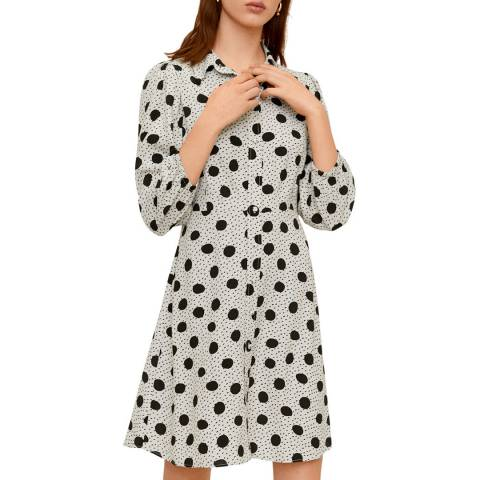 Mango Off White Polka-Dots Shirt Dress