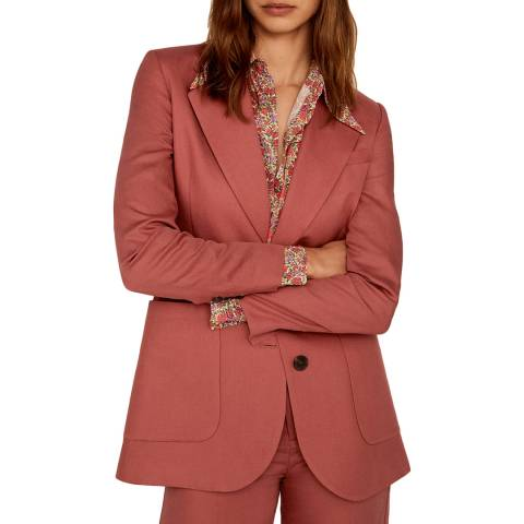 Mango Grapefruit Structured Linen Jacket