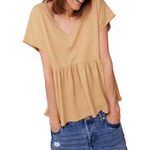 Mango Medium Brown Ruffle Cotton T-Shirt