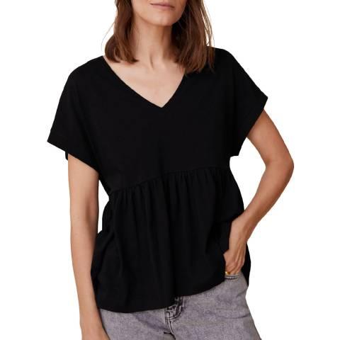 Mango Black Ruffle Cotton T-Shirt