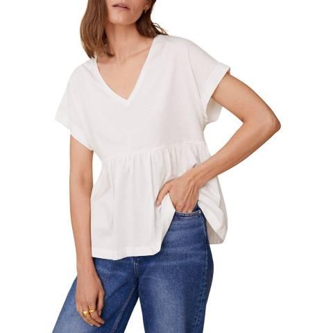 Mango White Ruffle Cotton T-Shirt