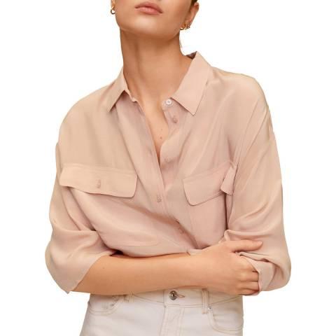 Mango Pink Pockets Flowy Shirt