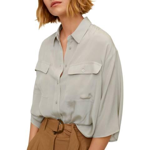 Mango Green Pockets Flowy Shirt