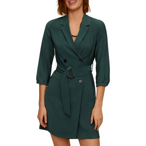 Mango Green Buttoned Wrap Dress