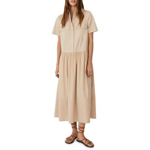 Mango Beige Cotton Shirt Dress