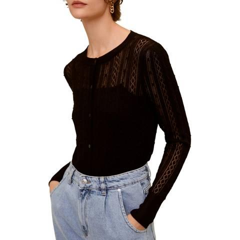 Mango Black Openwork Knit Cardigan