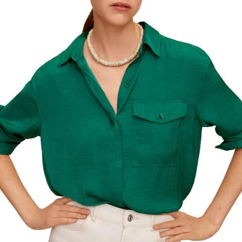Mango Green Flowy Pocket Blouse