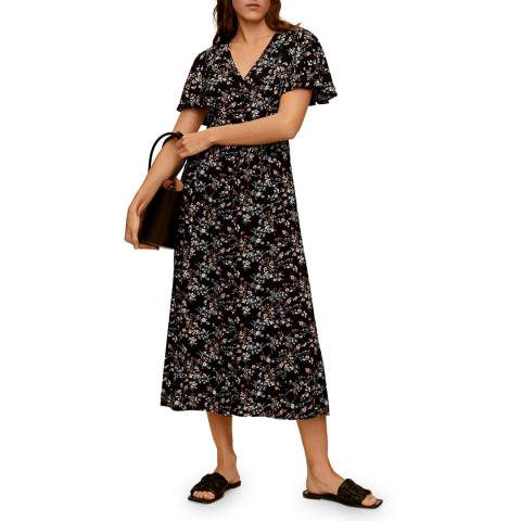 Mango Black Printed Long Dress