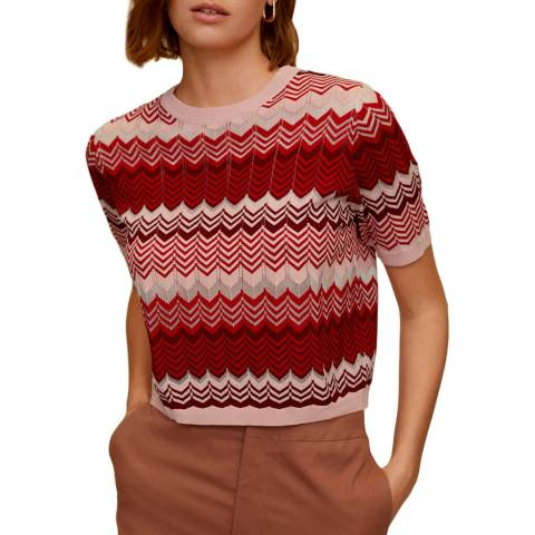 Mango Red Printed Knit Top