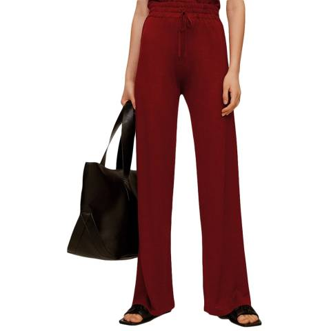 Mango Red Straight Cotton Trousers