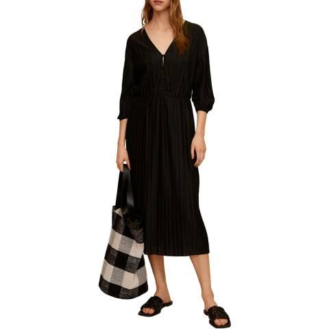 Mango Black Pleated Midi Dress