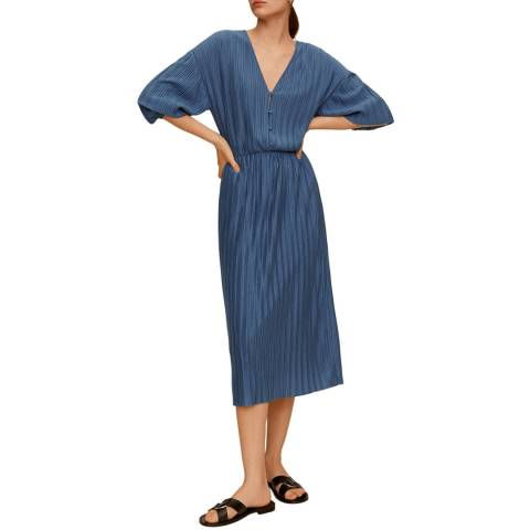 Mango Blue Pleated Midi Dress