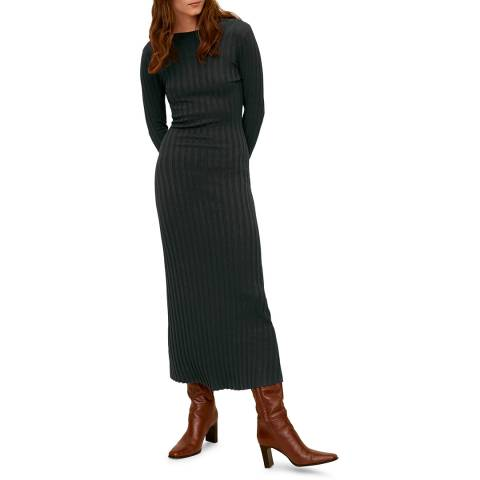 Mango Forest Green Ribbed Jersey Dress