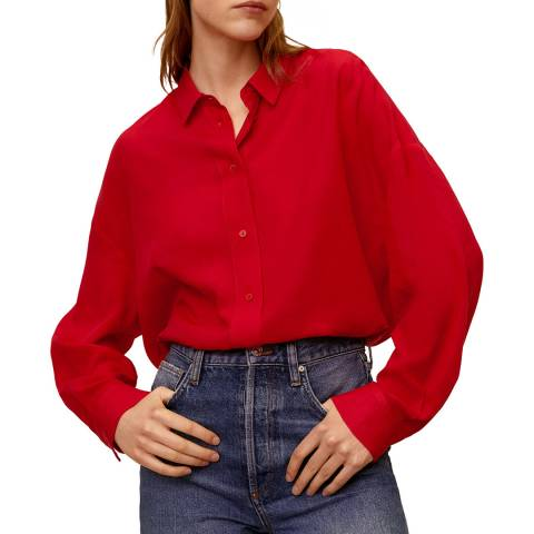 Mango Red Flowy Shirt