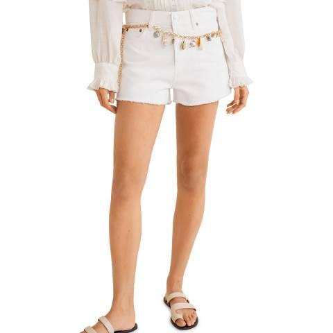 Mango White Frayed Hem Denim Shorts