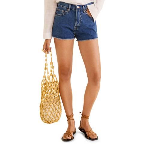 Mango Dark Blue Frayed Hem Shorts
