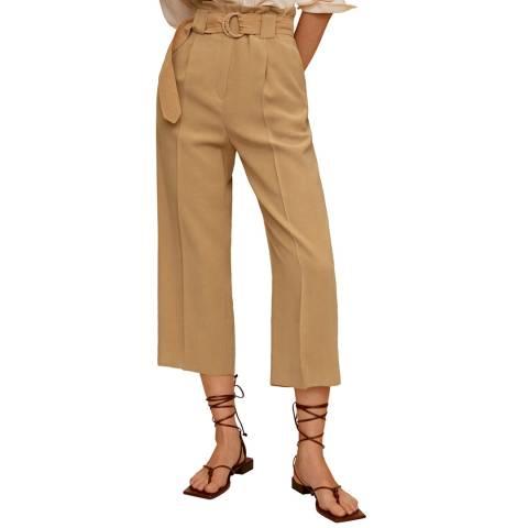 Mango Medium Brown Belt Flowy Trousers