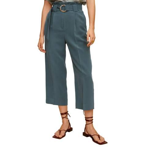 Mango Green Belt Flowy Trousers