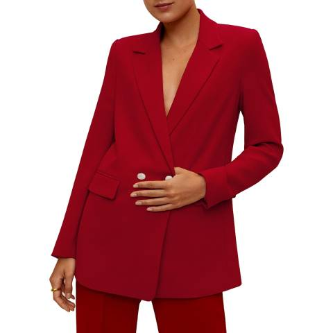 Mango Red Double-Breasted Blazer