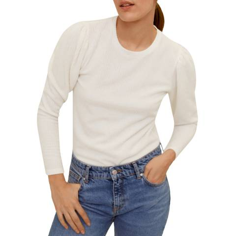 Mango Off White Puffed Sleeves T-Shirt