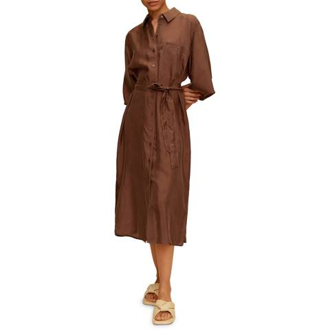 Mango Chocolate Belted Cupro Dress